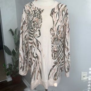 N Touch Plus Size Print Sweater